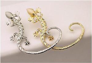 Earcuff Moda Kulak Manşet Rhinestone küpe altın Gümüş Kaplama kertenkele damızlık küpe küpe kadınlar takı üzerinde sevimli kristal kli ...
