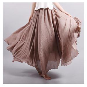 2016 패션 브랜드 여성 리넨 코튼 롱 스커트 신축성 허리 플레 티드 문학 스타일 Vintage Summer Skirts Faldas Saia