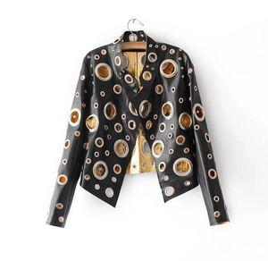 Черная заклепка кожаная куртка Женщины 2017 Золото PU пальто Женская одежда короткий тонкий мотоцикл верхняя одежда повседневная женская куртка