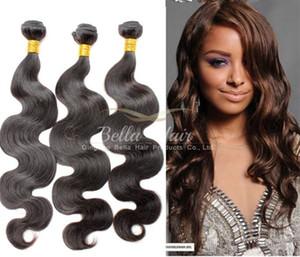 Bella Hair® insan saçı boyanabilir ağartılabilir 9a hairbundles perulu saç örgü uzantıları doğal siyah renk saç çift atkı ücretsiz kargo
