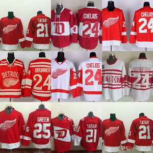 Factory Outlet Uomo Detroit Red Wings # 21 Tomas Tatar # 24 Chelios Brunner Bob Probert # 25 Mike Green Rosso Bianco New Best maglie hockey su ghiaccio