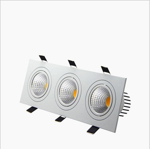 recessed led dimmable Downlight 3 head Square led down lights COB 15W 21W 30W 36W Spotlight Ceiling Lamp AC85-265V LED puck lights