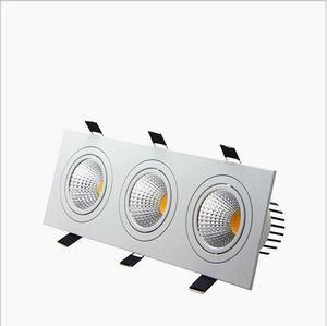 empotrable led regulable Downlight 3 cabeza Luces led cuadradas abajo COB 15W / 21W / 30W / 36W Proyector Lámpara de techo AC85-265V Luces LED puck
