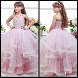Rosa Ballkleid Mädchen Festzug Kleider Holy First Kommunion Kleider 2016 Bodenlangen Tüll Rüschen Hochzeit Blumenmädchenkleider