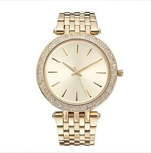 2017 Elegante Novo de Alta Qualidade de Luxo de Cristal De Diamante Relógios Mulheres Relógio de Ouro Faixa de Aço Subiu de Ouro Espumante Vestido de Pulso Navio da Gota