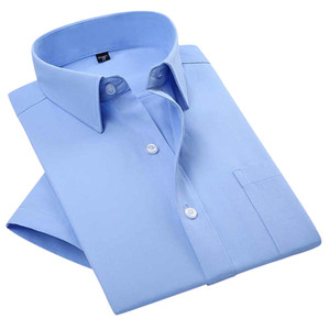 도매 여름 2016 망 Short Sleeve 단색 포플린 복장 셔츠 확산 칼라 Regular-fit면 혼합 Unelastic Business 공식 셔츠