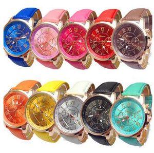 2016 роскошные Женевские часы римские цифры спортивные часы искусственная кожа красочные кварцевые изысканный запястье для мужчин женские часы автоматический DHL