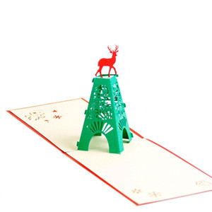 Christmas Deer 3D découpé au laser pop-up de papier pop-up cartes postales faites main cartes de souhaits personnalisées cadeaux pour articles de fête