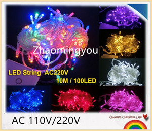 USTED 10M 20M 30M 50M 100M LED cadena Luz de hadas decoración navideña AC220V 110V Luz exterior impermeable con controlador