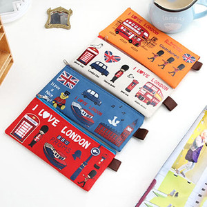 Sıcak Satış 4 Stil Öğrencileri Kalem Çantası Kalem Kutusu Karikatür Londra Stil Fermuar Kozmetik Kılıfı Para Çanta