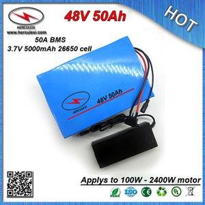 2400W PVC 50V BMS 26650 3.7V 5.0Ah 셀 + 2A 충전기와 48V 50Ah 전기 자전거 자전거 배터리 케이스 무료 배송