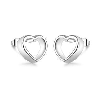 2015 New Arrival 925 sterling silver 3D Open Heart Stud Earrings