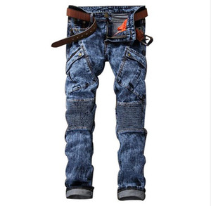 Fashion Mens Biker Jeans Pants Multi Pockets Slim Fit Pleated Motorcycle Denim Joggers Male Brand Designer Cargo Jean Trousers