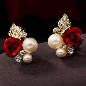Mode Petits Bijoux En Argent Femmes Élégantes Dame Fille Paire Rouge Rose Fleur Imitation Perle 18k Or Jaune Plaqué Cristal Stud
