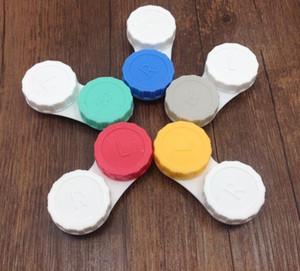 500pcs lot fahion Contact lenses case kit mate double lens box simple free shipping