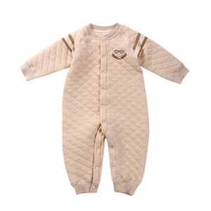 2017 new arrival top quality children's clothing baby rompers winter clip cotton warm long-sleeved climbing male baby conjoined clothing