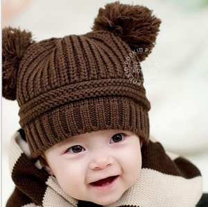 Knitted Children Fashion Winter Fall Warm Beanies Turtleneck Wool Baby Knitted Toddler Baby Ball Hat Xmas Mouse Hats Crochet Double Cap Kvbd