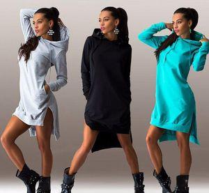 Hot hot style in Europe and the fashion of irregular hooded long-sleeved dress fleece Long sleeve dress fleece