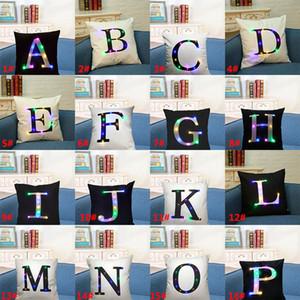45 * 45 cm Création Led Lumière Lumineuse Lettre Alphabet Taie d'oreiller Housse de Coussin Light Up Pillowcase Accueil Canapé Décoration De Voiture Cadeau HH7-172