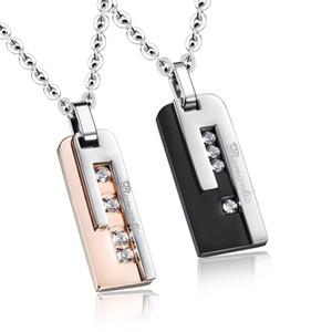 Pareja de acero inoxidable romántico collares de moda Cubic Zirconia mujeres hombres regalo de la joyería pendiente GXS1065