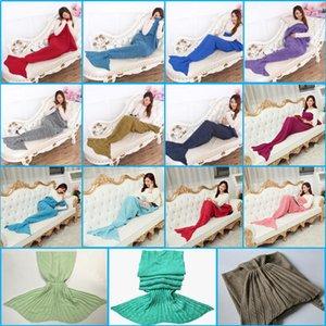 195x95 cm Yetişkinler Moda Örme Mermaid Kuyruk Battaniye Süper Yumuşak Isıtıcı Battaniye Yatak Uyku Kostüm klima Örgü Battaniye 15 Renkler