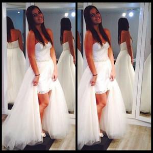 2016 New Arrival Curto Frente Longo Voltar abiti da sposa Frisada Vestidos de Noiva Destacável Saia Vestido de Noiva 2 em 1