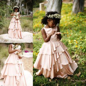 Девушки Румяна Розовые Цветочные Платья для Девочек Pleats Beach Party Gowns 2017 Платья для Девочек-Цветочниц для Свадьбы Первое Причастие Платья для Девочек BA3387