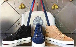 [Scatola originale] Sneakers a tre colori con frange a fondo nero Sneaker monospalla con cinturino in pelle scamosciata Hightop in vera pelle con zeppa nera Kaki blu