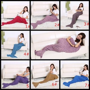 Wholesale 195X90cm luxry knitting blanket noble Mermaid Tail Blanket Super Soft Hand Crocheted lady Sofa warm Blanket air-condition blanket