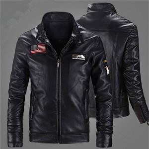 2017 outono inverno moda motociclista de veludo pele de ovelha jaquetas de couro dos homens americanos eua bandeira do vintage da marca mens jaqueta