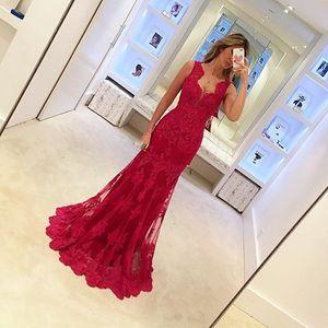 Appliques rouges en dentelle robe de soirée 2016 sans manches robe de soirée sirène femmes élégantes robes longues robe de soirée