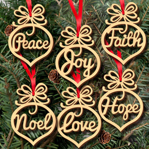 Natale lettera legno Cuore Bolla modello Ornamento Decorazioni per l'albero di Natale Home Ornamenti Festival Hanging Gift, 6 pezzi per sacchetto