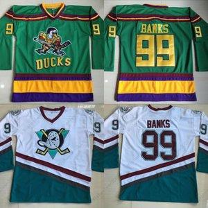 99 Adam Bancos Mighty Ducks Jersey 1996-06 Mighty Ducks de Anaheim película maillot verde cosido y bordado