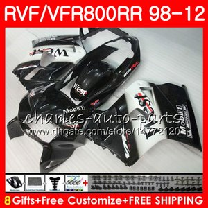 VFR800 für HONDA Interceptor VFR800RR Black West 98 99 00 01 02 03 04 12 90NO56 VFR 800 RR 1998 1999 2000 2001 2002 2003 2004 2012 Verkleidung