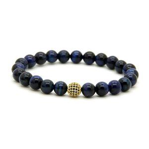 10 pz / lotto 8mm un grado blu occhio di tigre perline di pietra bracciali micro pavimentato blu cz palla in rilievo gioielli regalo per amico e famiglia