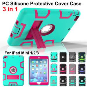 Protector a prueba de golpes Funda 3 en 1 Robot Defender Robot PC híbrido + Protector de pantalla de soporte de silicona Protector de pantalla Funda para iPad Mini 2 min3