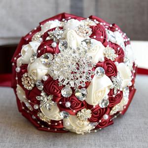 Jane Vini Luxuriöse Western Burgund Hochzeit Bouquets Mit Crystal Shiny Diamant Bouquet Mariage Satin Blumen Brautstrauß Buque De Noiva