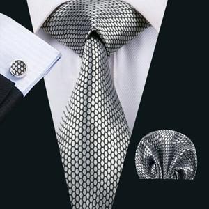Classique Soie Hommes Cravates Argent Hommes Cravate Cravate Dot Cravate Ensembles Cravate Boutons De Manchettes Manchettes Ensembles Jacquard Tissé Réunion Affaires Fête De Mariage N-1536