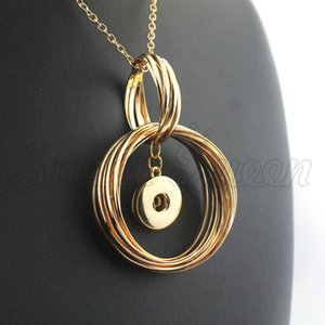 Exaggerated Gold Christmas 18mm Metal Snap Button Necklace Female Diy Jewelry Ne484 Women 'S Statement Gift 8 Cm