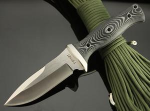 Top qualidade tático faca reta, AUS-8 59HRC Blade, cetim, Micata Handle, Outdoor acampamento survial facas com bainha leathe