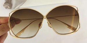 Femmes Design Lunettes de soleil Stellaire Doré Marron Gradient Lenes Marque de lunettes de soleil Lunettes de soleil Nouveau avec étui