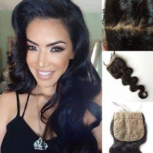 Silk Closure 4 * 4 brasilianisches Haar Silk Base Lace Closure mit Baby-Haar frei Teil 100% Menschenhaar Verschluss Stück