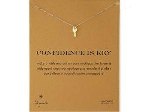 Collier ras du cou Dogeared Colliers Avec carte Collier pendentif clé en argent doré Pour femme Mode Bijoux CONFIANCE IS KEY