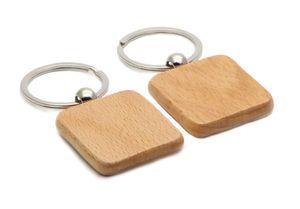 Blank Key Chain di legno Piazza 1.25 '' * 1.25 '' Keychains 25Pcs / Lot libera il trasporto