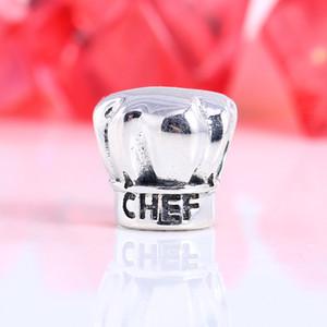 Yeni Gerçek 925 Ayar Gümüş Değil Kaplama Gümüş Şef Kap Charms Avrupa Charms Boncuk Fit Pandora Bilezik DIY Takı