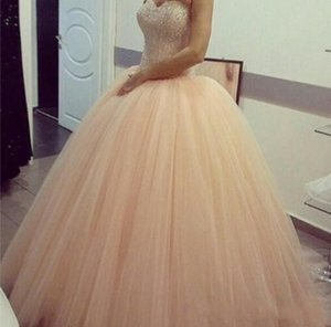 2016 Cheap Blush Pink Quinceanera Ball Gown Dresses Sweetheart Crystal Beading Tulle Long Sweet 16 Cheap Party Dress Prom Evening Gowns