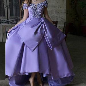 2019 лаванда с плеч высокие низкие вечерние платья развертки поезд элегантный Леди платья выпускного вечера формальные платья особого случая дешевые длинные