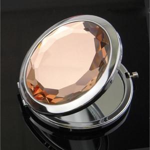 Gravé cosmétique Compact Mirror 7cm pliant maquillage miroir compact miroir avec cristal, miroir de poche en métal pour cadeau de mariage