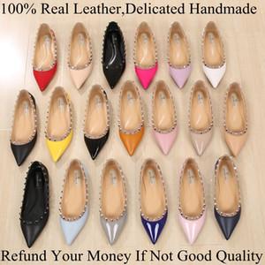 Mode Marque De Luxe Vogue Femmes Chaussures Rivets Appartements À Bout Bout Boutons En Métal Clouté Chaussures En Cuir Ballerina Plus taille 33-43