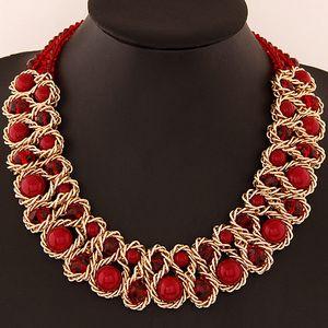 Moda mujeres babero collar grande simulado perla cristal choker collar collar para las mujeres exagerada collar de declaración de joyería